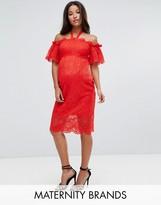 Hope And Ivy Maternity Hope & Ivy Maternity Bardot Lace Dress