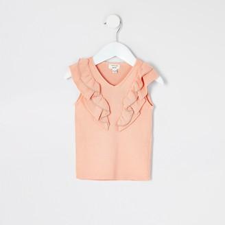 River Island Mini girls Orange bead trim frill knitted top