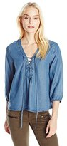 Buffalo David Bitton Women's Taisie Chambray Lace-Up Top with 3/4 Sleeves