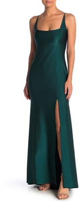 Jump Satin Square Neck Gown