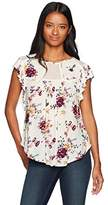 Jolt Women's Floral Print Flutter Sleeve Top With Lace Detail