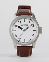 Nixon Safari Leather Watch In Brown