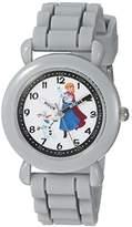 Disney Girl's 'Frozen Anna' Quartz Plastic and Silicone Casual Watch, Color:Grey (Model: WDS000229)