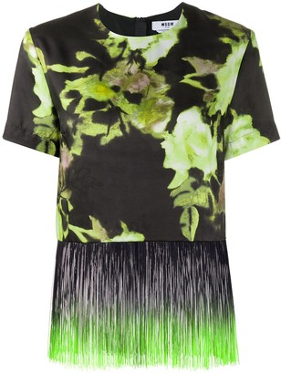MSGM floral print fringe trim T-shirt