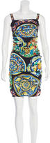 Dolce & Gabbana Ruched Sicilian Print Dress