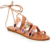 Dotti Embroidered Lace Up Flat Sandal