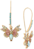 Betsey Johnson Gold-Tone Multi-Crystal Butterfly Drop Earrings