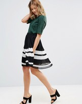 Pieces Tammi Pleated Stripe Skirt