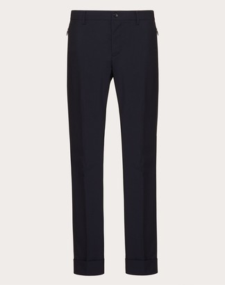 Valentino Pants With Pockets And Zipper Fastening Man Navy Wool 84%, Mohair 16% 44