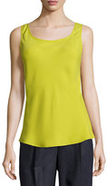 Lafayette 148 New York Bias-Cut Scoop-Neck Silk Tank, Plantain