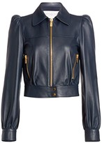 Michael Kors Plonge Leather Puff-Sleeve Cropped Moto Jacket