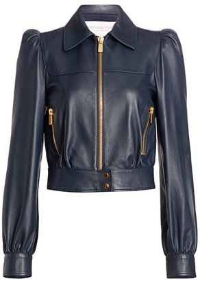 Michael Kors Plonge Leather Puff-Sleeve Cropped Moto Jacket
