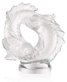 Lalique Medium Clear Double Fish Sculpture