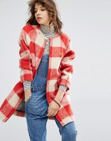 Maison Scotch Bonded wool coat in cool check