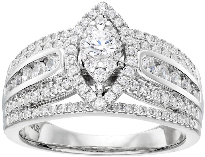 Vera Wang Wedding Rings.Simply Vera 14k White Gold 1 Carat T W Diamond Marquise Engagement Ring