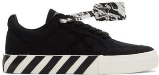 Off-White Black Canvas Vulcanized Low Sneakers