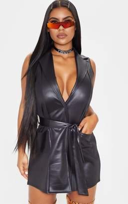 PrettyLittleThing Black PU Sleeveless Tie Waist Blazer Dress