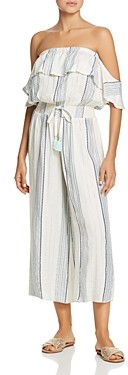 Surf.Gypsy Metallic Striped Ruffle Off-the-Shoulder Jumpsuit Swim Cover-Up