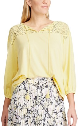Chaps Women's Knit Lace Detail Blouse