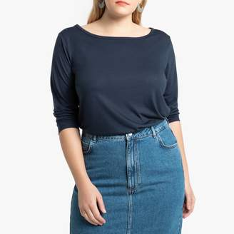 La Redoute Collections Plus Boat-Neck T-Shirt with Elbow-Length Sleeves