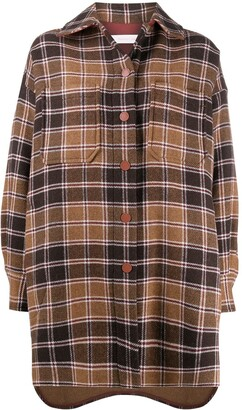 See by Chloe Oversized Checkered Shirt Coat