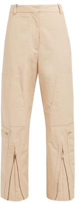 Stella McCartney Zip-front Cotton-blend Trousers - Womens - Light Pink