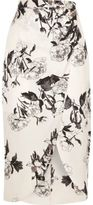 River Island Womens Pink floral wrap front midi skirt