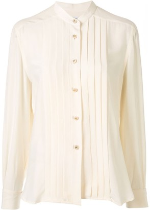 Chanel Pre Owned 1997s Imitation Pearl Cuffs Long Sleeve Tops Shirt
