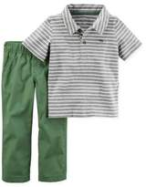 Carter's Newborn 2-Piece Short Sleeve Polo Shirt and Pant Set in Grey/Green
