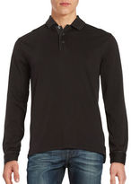 Black Brown 1826 Point Collar Long Sleeve Henley Shirt