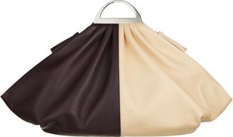 THE VOLON Gabi Colorblock Leather Top Handle Bag