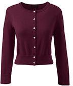 Lands' End Women's Tall Supima 3/4 Sleeve Dress Cardigan Sweater-Cherry Jam