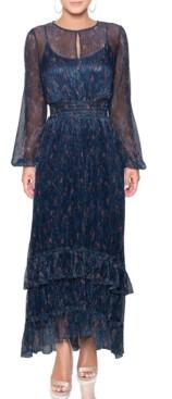 Rachel Roy Sheer Metallic Ruffle Maxi Dress