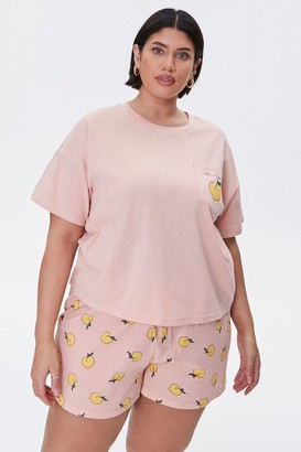 Forever 21 Plus Size Peach Tee Shorts Pajama Set