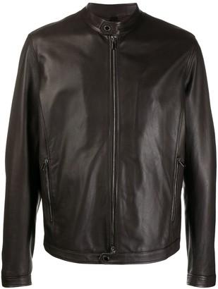Tagliatore Stanley band-collar biker jacket