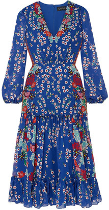 Saloni Devon Ruffled Floral-print Silk-chiffon Midi Dress