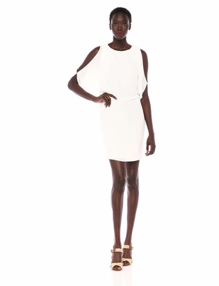 Halston Women's Cape Sleeve Fitted Open-Back Dress