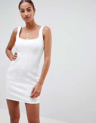 Asos Design DESIGN scuba 90s scoop neck mini dress-White