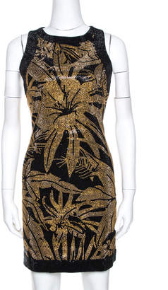 Balmain Gold & Black Floral Bead Embellished Mini Dress M