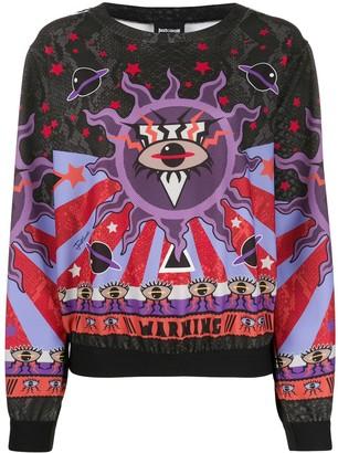 Just Cavalli Warning-print sweatshirt
