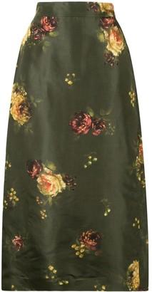 Brock Collection Rabbit silk floral print skirt