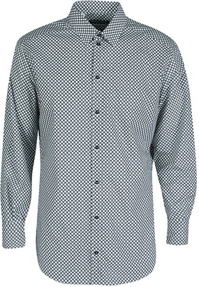 Dolce & Gabbana Gold Monochrome Circle Print Long Sleeve Button Front Shirt XL