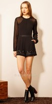 EDM Private Collection Long Sleeve Sheer Embellished Keyhole Romper