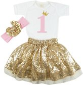 PoshPeanut 1st Birthday Gold Sequin Skirt with Princess Onesie Top & Headband Outfit Set for Her Special Day