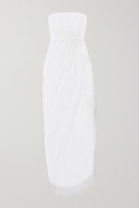RALPH & RUSSO Strapless Embellished Feather-trimmed Embroidered Tulle Gown - White
