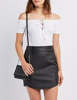 Charlotte Russe Lace-Up Off-The-Shoulder Crop Top