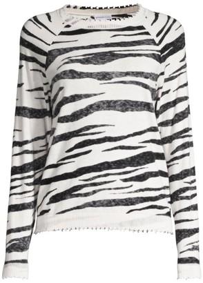 Minnie Rose Tiger Cashmere-Blend Crewneck Sweater