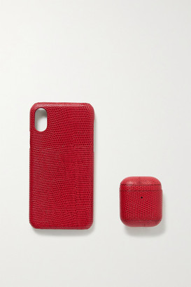 Factory The Case Lizard-effect Leather Iphone X And Airpods Case Set - Red