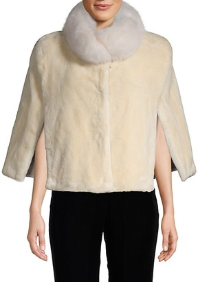 Wolfie Fur Dyed Beaver Fox Fur-Trim Cape