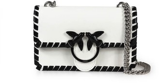 Pinko Love Mini Twist White Black Crossbody Bag